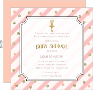 Pink Stripes Frame Baby Shower Invitation