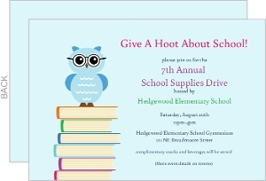 Owl With Text Books School Fundraiser Invitation