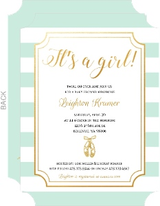 Ballet Mint Stripes Baby Shower Invitation