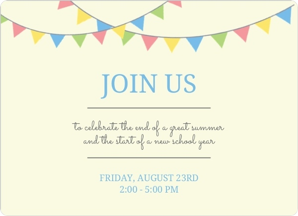 Back To School Flags Back To School Party Invitations