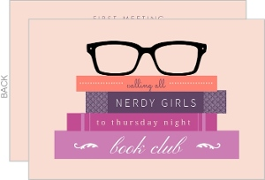 Hipster Glasses Book Club Invitation