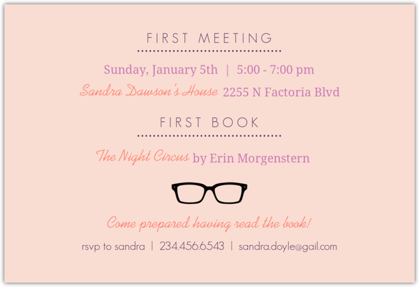 Book Club Invitation Wording Premium Invitation Template Design