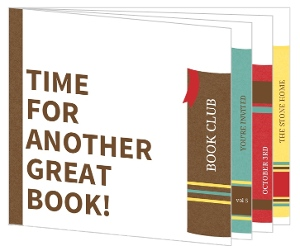Colorful Standing Books Book Club Invitation