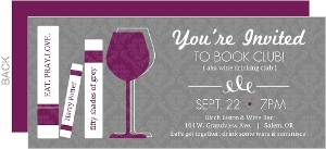 Purple And Gray Wine Glass Book Club Invitations