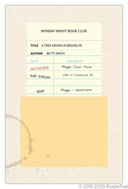 Due Date Reminder Book Club Invitation Book Club Invitations