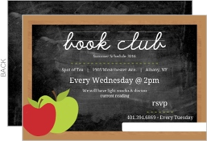 Chalkboard with Apple and Chalk Book Club Invitaiton