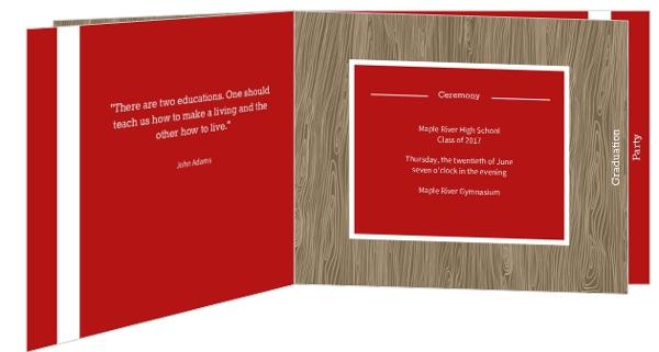 Red and Wood Grain Graduation Invitation