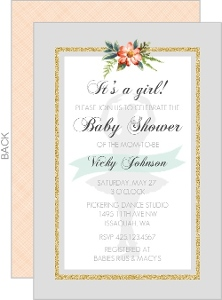 Floral Soft Gray Baby Shower Invitation