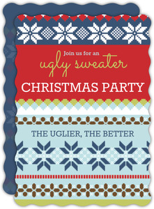 Ugly Christmas Pattern Ugly Sweater Party Invitation