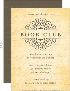 Vintage Handwriting Book Club Invitation
