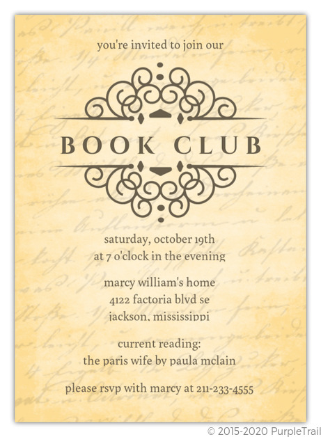 Vintage Handwriting Book Club Invitation Book Club Invitations