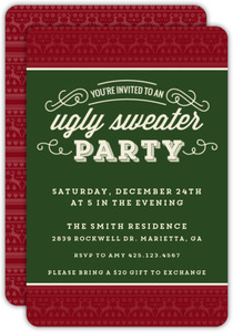 Decorative Christmas Pattern Ugly Sweater Party Invitation