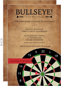 Bullseye Dart Game Night Invitation