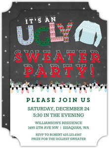 Chalkboard And Lights Ugly Sweater Party Invitation