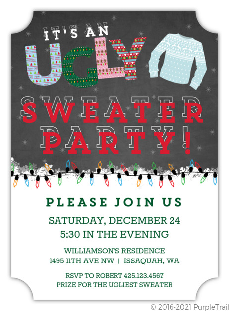 Chalkboard And Lights Ugly Sweater Party Invitation Ugly Christmas