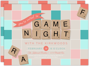 Letter Tiles Game Night Invitation