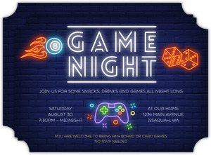 Neon Lights Game Night Invitation
