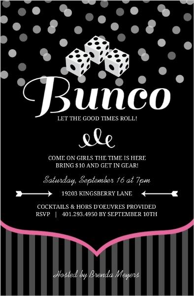 Pink And Black Dice Bunco Game Night Invitation Game Night Invitations