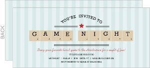 Blue Stripe Scrabble Pieces Game Night Invitation