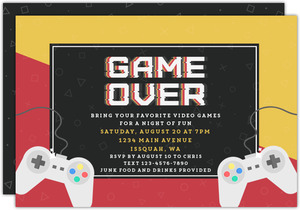 Game Over Game Night Invitation