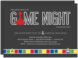 Gray Sorry Game Board Game Night Invitation