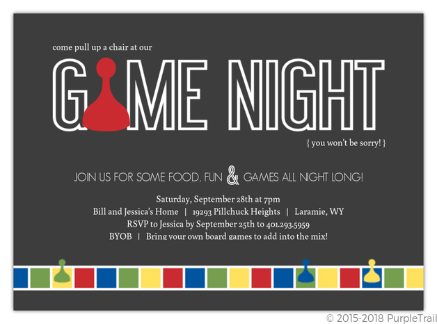 Gray Sorry Game Board Game Night Invitation Game Night Invitations
