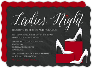 White Stilettos Girls Night Out Invitation