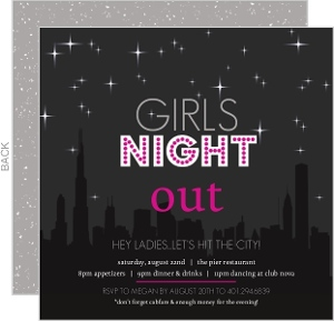 Pink And Gray Night Sky Girls Night Out Invitation