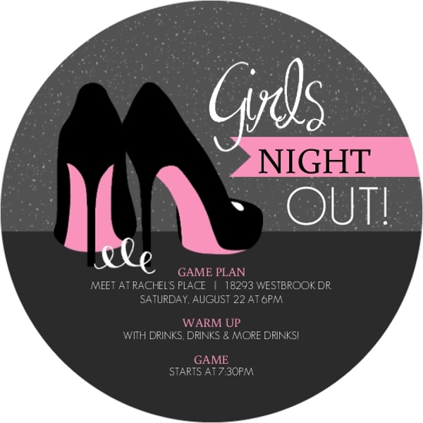 Pink High Heels Girls Night Out Invitation Girls Night Out Invitations