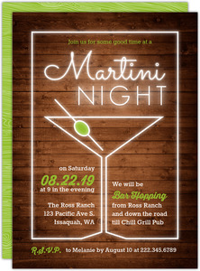 Neon Light Martini Glass Girls Night Out Invitation