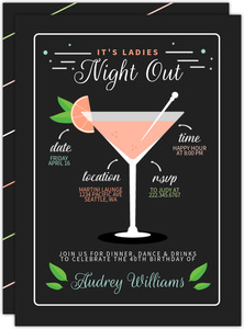 Modern Martini Recipe Girls Night Out Invitation