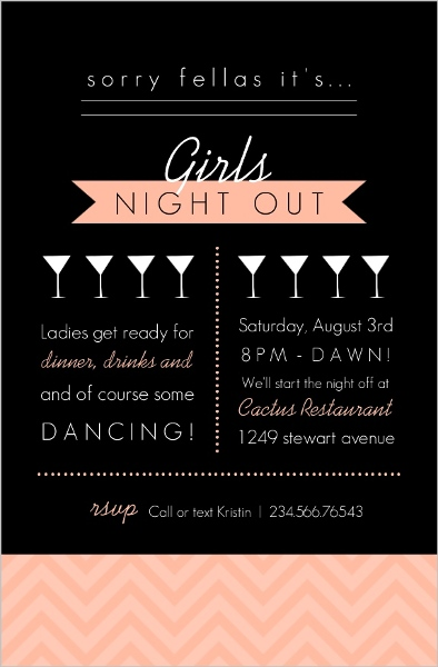 Modern Black And Peach Girls Night Out Invitation Girls