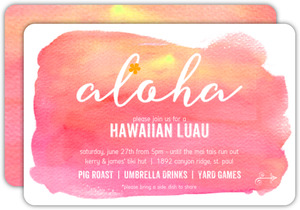 Pink Sunset Aloha Luau Party Invitation