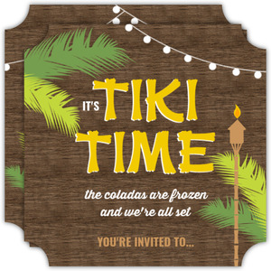 Woodgrain Tiki Hut Luau Party Invitation
