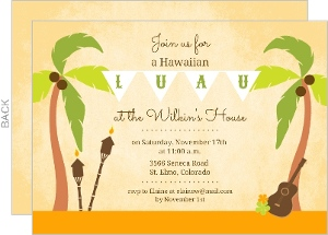 Palm Tree Hawaiian Luau Invitation