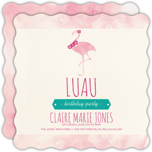 Pink Flamingo Luau Party Invitation