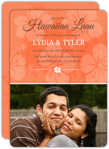 Tangerine Floral Hawaiian Luau Party Invite - 7940
