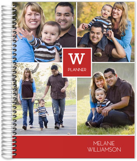 Red Monogram Photo Collage Daily Custom Monthly Planner
