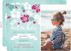 Festive Hibiscus Flowers Luau Party Invitation