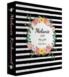 Black and White Stripes Floral 3 Ring Binder Daily Planner