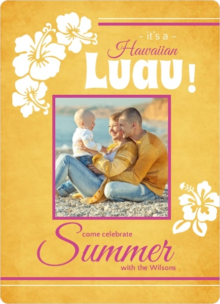 Gold and Pink Luau Invitation