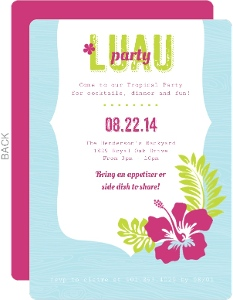 Hawaiian Flowers And Frame Luau Party Invitations