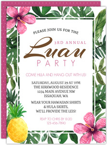 Pink Hibiscus Luau Party Invitation