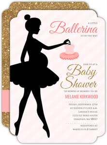 Ballerina Silhouette Baby Shower Invitation