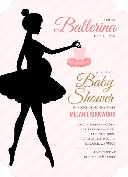 photo regarding Ballerina Silhouette Printable known as Ballerina Silhouette Printable Boy or girl Shower Invitation