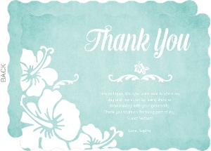 Turquoise And White Floral Luau Thank You