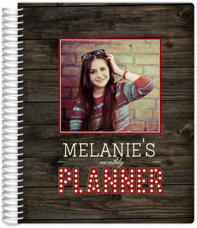 Rustic Woodgrain Marquee Photo Monthly Planner