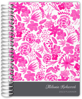 Pink Handpainted Floral Custom Daily Planner