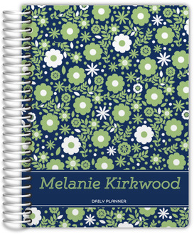 Navy Green Floral Custom Daily Planner