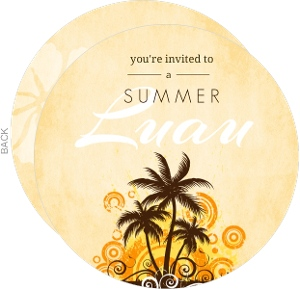 Orange And Brown Swirly Palm Trees Luau Invitation